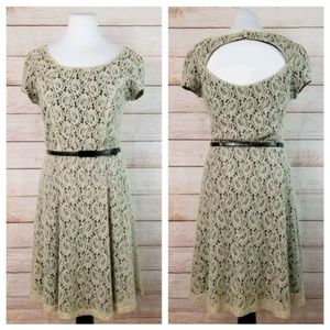 Maurices 7/8 Lace Overlay Cut-Out Back Mini Dress